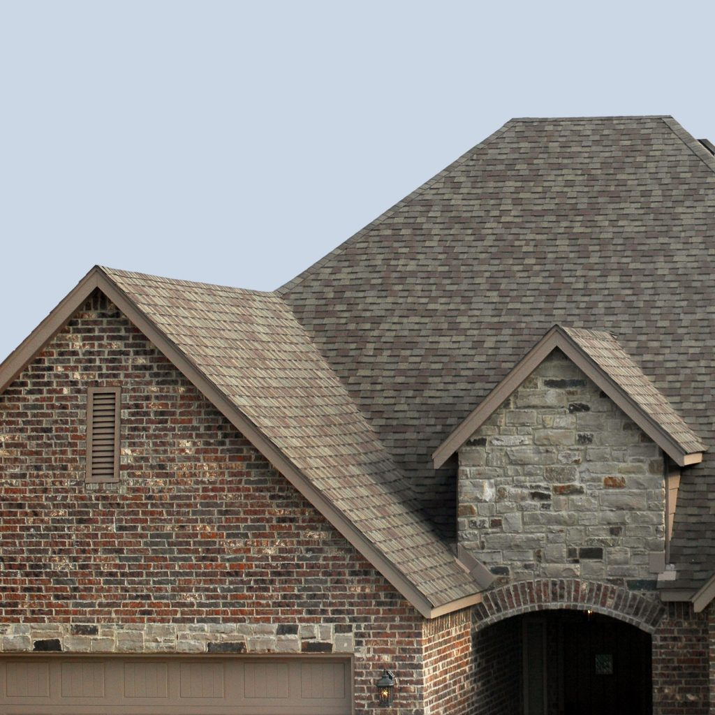 shingle roofing system on a brick house