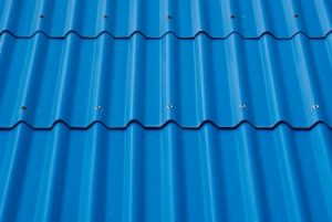 a photo of blue metal roof tiles
