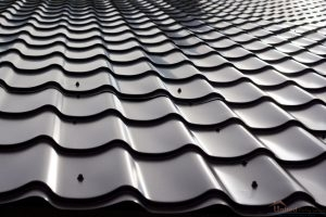 Black Metal Shingles Reflecting Sunlight